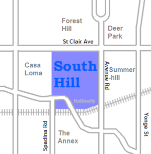 South Hill, Toronto - Image: South Hill map