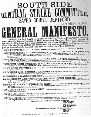 London dock strike of 1889 - Manifesto of the South Side Central Strike Committee, issued during the strike.