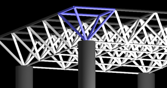 Diagram of a planar space frame such as used for a roof