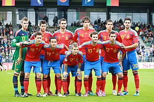 Thiago Alcântara - Thiago (number 19) lining up with the Spanish team that won the 2011 European Under-21 Championship