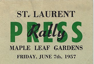 Canadian federal election, 1957 - Press pass for the ill-fated Liberal rally, June 7, 1957