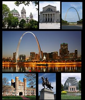 From top left: The Cathedral Basilica, Saint Louis Art Museum, Gateway Arch, St. Louis skyline, Washington University, Apotheosis of St. Louis, Forest Park Jewel Box