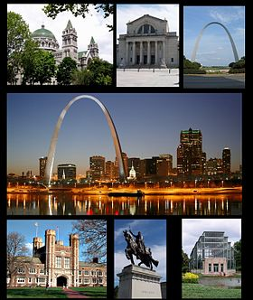 De haut en bas et de gauche à droite : cathédrale Saint-Louis, Musée d'art de Saint-Louis, la Gateway Arch du Jefferson National Expansion Memorial, université Washington, statue de Louis IX de France et Forest Park.