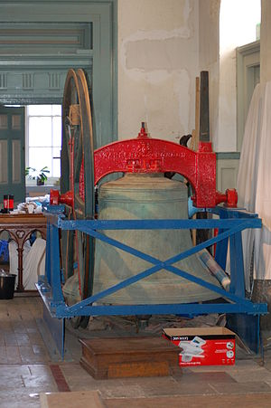 St Leonard's, Shoreditch - One of the bells, removed for maintenance