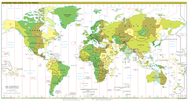 Map of the time zone boundaries of the world. Generally the borders run north-south and there are about 24 zones, but there are many exceptions where the borders follow national boundaries and a few half-hour or quarter-hour zones exist.