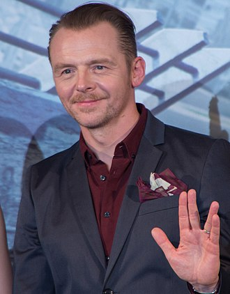 2016 in science fiction - Star Trek writer and actor Simon Pegg giving a Vulcan salute in 2016