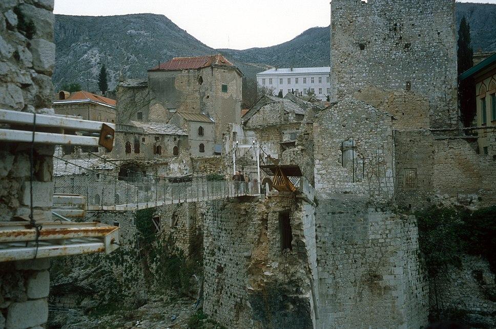 Stari Most temporary cable bridge 1997
