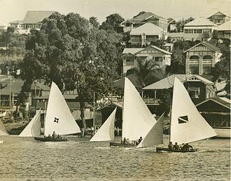 Hamilton Reach - Sailboat racing at Hamilton Reach  (Bulimba Hill in the background)
