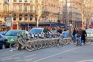Cycling in Paris - Vélib' at Place de la Bastille.