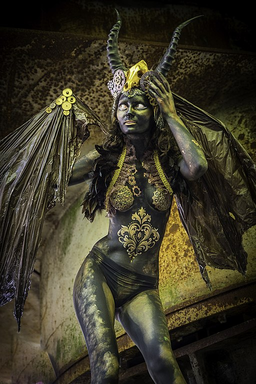 Steampunk body painting creature