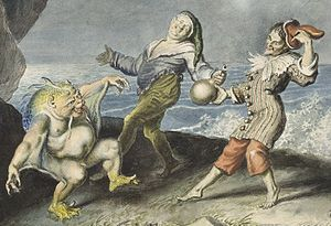 Stephano (The Tempest) - Stephano (centre), Trinculo and Caliban dancing on the sea shore, painting by Johann Heinrich Ramberg (detail)