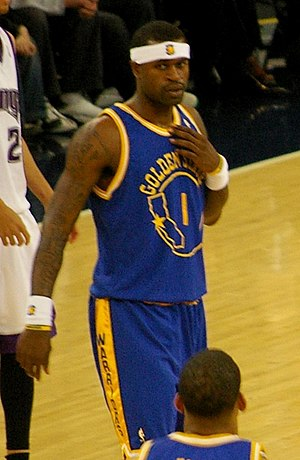 "Stephen Jackson - Jackson in the Warriors ""throwback"" uniform in 2008."