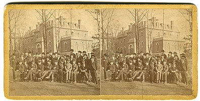 Stereocard of boys captured on the schools' grounds.