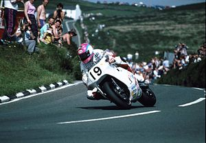 Steve Hislop - Hislop on the Norton 588 at Creg-ny-Baa, Isle of Man in 1992