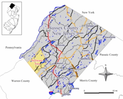 Map of Stillwater Township in Sussex County. Inset: Location of Sussex County in New Jersey.