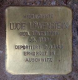 Photo of Lucie Löwenstein brass plaque