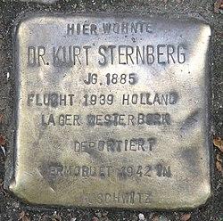 Photo of Kurt Sternberg brass plaque