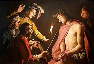 Passion of Jesus - Jesus Christ in his Passion as the Lord of Patience with the crown of thorns and scepter reed, being mocked by Roman soldiers.