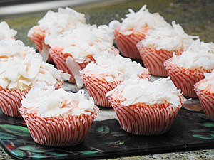 Strawberry coconut cupcakes tray for Labor Day...