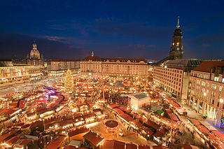 Striezelmarkt annual Christmas market in Dresden, Saxony, Germany