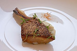 Striped bass - Striped bass brisket with a lima-fava bean puree