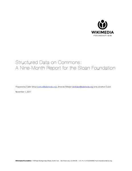 File:Structured Data on Commons Nov. 2017 Report to Alfred P. Sloan Foundation - From the Wikimedia Foundation.pdf