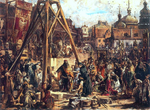 Polonization - The Second Taking of Ruthenia. Wealth and Education, 1888 oil painting by Jan Matejko depicting the cornerstone laying for the first Roman Catholic church in Lviv by Casimir III the Great of Poland