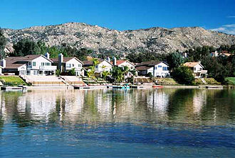 Moreno Valley, California - Man-made lake in the Sunnymead Ranch community of northern Moreno Valley