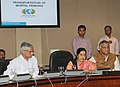 Sushma Swaraj addressing at the launch of the Online System for Facilitating Transportation of Mortal Remains from ECR Countries.jpg