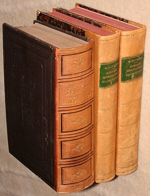 Svenskt biografiskt handlexikon - Covers of the 1st edition (1876) in one volume and 2nd edition (1906) in two volumes.