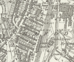 Maliphant sidings, Swansea - Maliphant Street and Maliphant Sidings,from an Ordnance Survey map of 1884.Swansea (High Street) station is to the south of the mapped area.