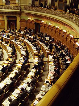 Swiss Federal Assembly session, with spectators gallery