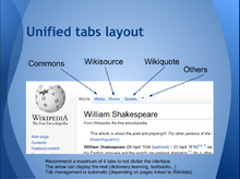 Example screenshot of Wikipedia with interproject tabs replacing the talk page tab