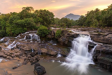 Tad Hang waterfalls at sunset, Bolaven Plateau, Laos