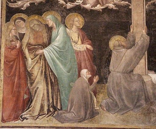 Taddeo Gaddi, Albero della Vita, (particolare con la Vergine sorretta dalle pie donne e san Giovanni Evangelista, posto sulla sinistra dell'Albero della Vita), Basilica di Santa Croce, Firenze