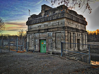 Mausoleum of Theoderic - Taplin Gorge Dam's Powerhouse is a rough replica of Theodoric the Great's tomb outside of Ravenna, Italy