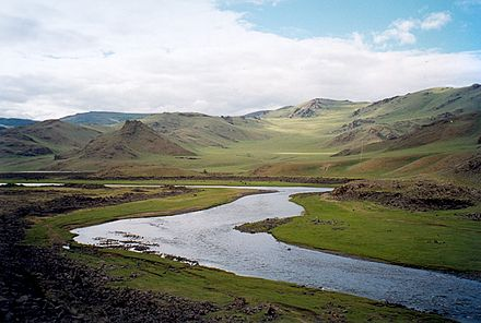Mongolia is the least densely populated country in the world. TariatLandscape.jpg