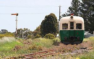 Rail transport in Tasmania - DP class railmotor as used in Tasmania, as preserved on the Bellarine Peninsula Railway.