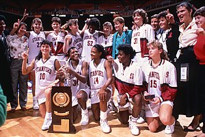Tara VanDerveer - Stanford Cardinal team with National Championship Trophy