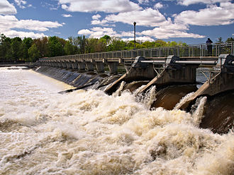 Terrebonne, Quebec - The actual Moulin-Neuf dam with the pedestrian walkway at the Île-des-moulins in Terrebonne