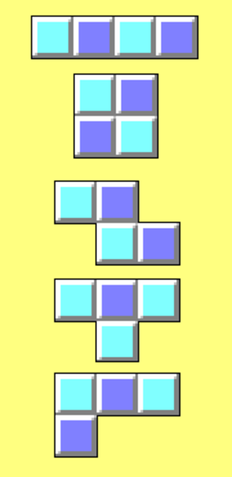 Tetromino - The five free tetrominoes, top to bottom I, O, Z, T, L, marked with light and dark squares. As the number of light and dark squares are always 9 and 11, only depending on the colouring of the T tetromino, it is not possible to pack all five into a rectangle (such as ones with 4×5 or 2×10 squares) as any such rectangle has the same number of light and dark squares.