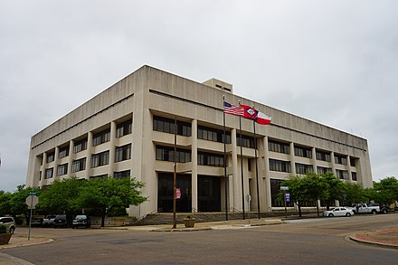 The Texarkana Department of district court is held at the Bi-State Justice Building at 100 State Line Avenue Texarkana April 2016 118 (Bi-State Justice Building).jpg