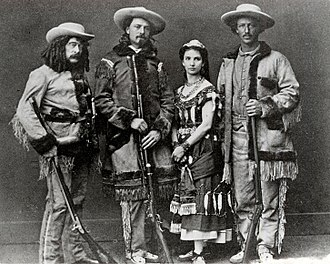 Ned Buntline - Buntline, Buffalo Bill Cody, Giuseppina Morlacchi, Texas Jack Omohundro in The Scouts of the Prairie, 1872.
