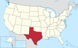 Map of the United States with Texas highlighted