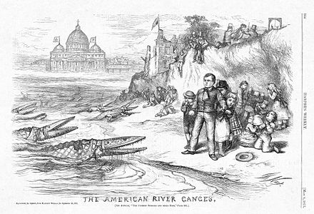 Famous 1876 editorial cartoon by Thomas Nast showing bishops as crocodiles attacking public schools, with the connivance of Irish Catholic politicians The American River Ganges (Thomas Nast cartoon).jpg