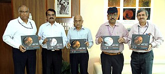 Mars Orbiter Mission - The Chairman, ISRO, Shri A.S. Kiran Kumar releasing the Mars Atlas on the occasion of the completion of one year of Mars Orbiter Mission in Orbit, in Bengaluru. The Scientific Secretary, ISRO, Dr. Y.V.N. Krishnamoorthy