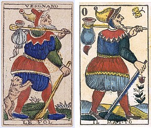 Tarot of Marseilles - Le Fol - Il Matto. Two different versions of The Fool, from the Vergnano Tarot printed in Turin (northern Italy) by Stefano Vergnano: 1827 (left) and around 1830 (right).