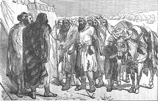 The Gibeonites come to the camp of the Israelites