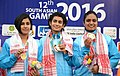 The Gold Medallist of India Sweta Singh, Heena Sidhu and Yashaswini Singh Deswal in the 10m Air Pistol Women's Team event in Shooting, at the 12th South Asian Games-2016, in Guwahati on February 15, 2016.jpg