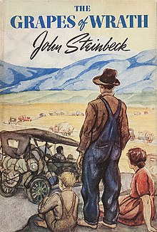 Book cover illustration of a child, man, and woman on a roadside watching as dozens of cars and trucks drive off into the distance